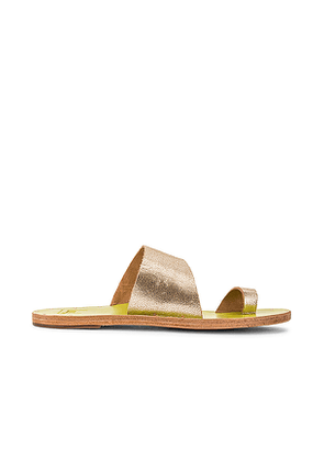 Beek Finch Sandal in Metallic Gold. Size 8.