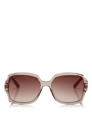 SAMMI Brown Shaded Square Sunglasses with Nude Frame