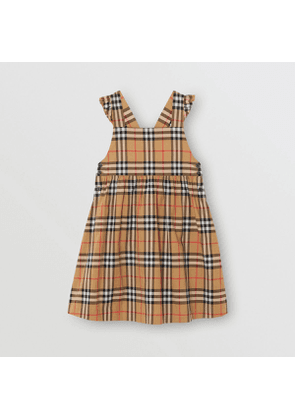 Burberry Childrens Ruffle Detail Vintage Check Cotton Dress, Size: 12Y, Antique Yellow