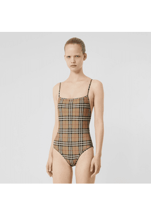 Burberry Vintage Check Swimsuit, Size: L, Yellow