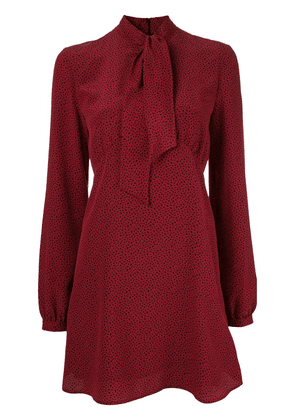 Saint Laurent pussybow printed dress - Red