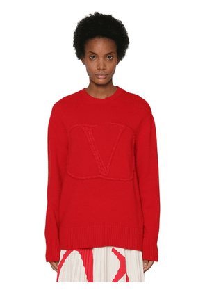 3d Embroidered Vlogo Wool Blend Sweater