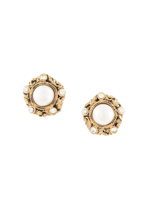 Chanel Vintage round faux pearl earrings - Gold