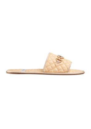 a754c937a Gucci Leather slide sandal with Interlocking G | Neutrals ...