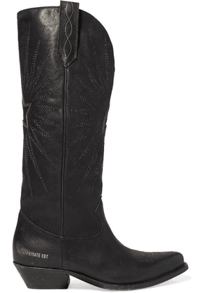 Golden Goose - Wish Star Distressed Embroidered Leather Knee Boots - Black
