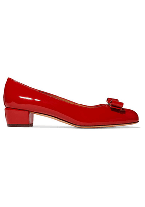 Salvatore Ferragamo - Vara Bow-embellished Patent-leather Pumps - Red