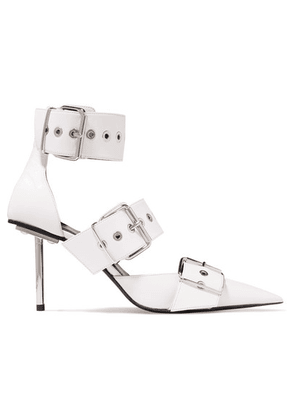 Balenciaga - Belt Buckled Leather Pumps - White