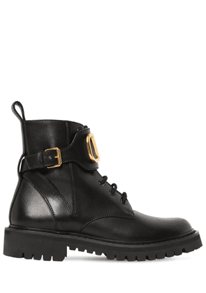 35mm Vlogo Leather Combat Boots