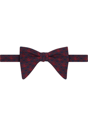 Gucci Double G and Horsebit silk bow tie - Blue