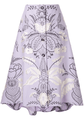 Delpozo floral embroidered skirt - Purple