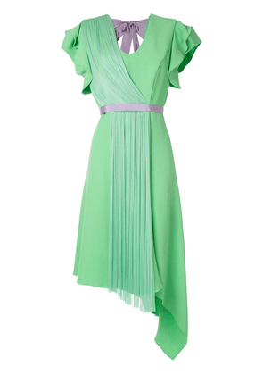 Delpozo pleated insert asymmetric dress - Green