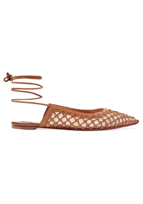 Christian Louboutin - Cage And Curry Mesh And Woven Leather Point-toe Flats - Tan
