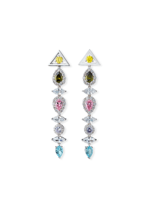 Pagoda Drop Earrings, Pastel Multicolor