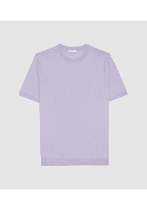 Reiss Carlton - Knitted Crew Neck Top in Lilac, Mens, Size XS