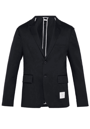 Thom Browne - Single Breasted Cotton Blazer - Mens - Navy