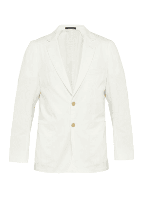 Dunhill - Single Breasted Cotton Blend Blazer - Mens - White