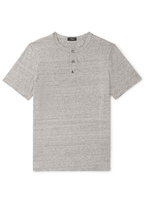Theory - Mélange Stretch-linen Henley T-shirt - Gray