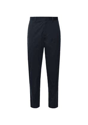 Theory - Navy Curtis Tapered Cropped Stretch-cotton Blend Trousers - Navy