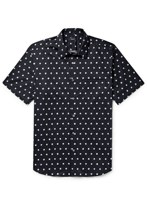 Theory - Virsko Polka-dot Cotton-blend Poplin Shirt - Navy