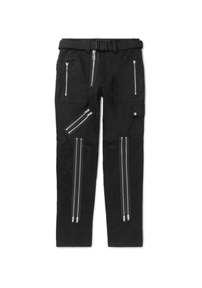 99%IS- - Slim-fit Zip-detailed Twill Trousers - Black
