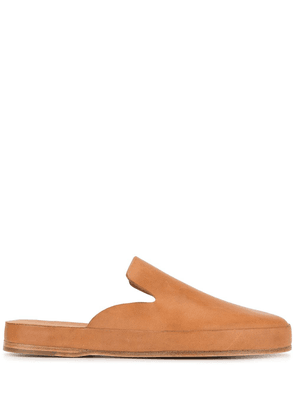 Feit leather slippers - Brown