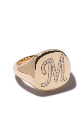David Yurman 18kt yellow gold Cable Collectibles diamond M initial