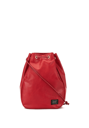 Porter-Yoshida & Co logo patch drawstring bag - Red
