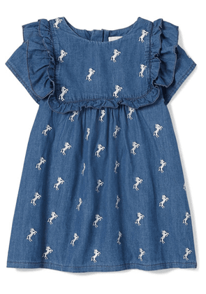 Chloé Kids - Months 6 - 18 Embroidered Cotton-chambray Dress