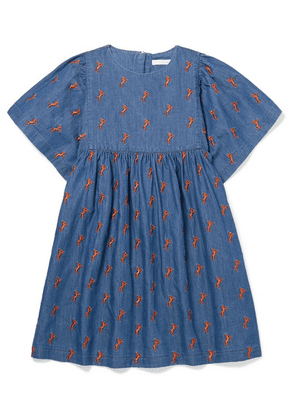 Chloé Kids - Ages 6 - 12 Embroidered Cotton-chambray Dress