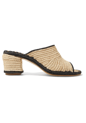 Carrie Forbes - Rama Two-tone Woven Raffia Mules - Beige