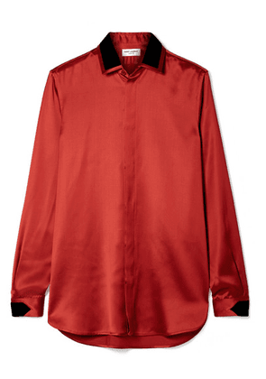 SAINT LAURENT - Velvet-trimmed Satin Blouse - Brick