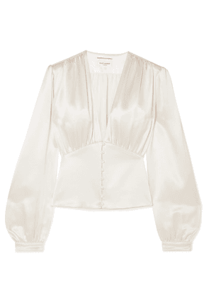 SAINT LAURENT - Silk-satin Blouse - Ecru