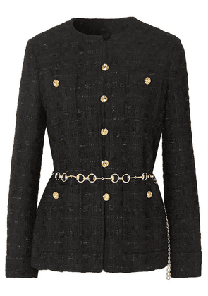 Gucci - Belted Button-embellished Tweed Jacket - Black