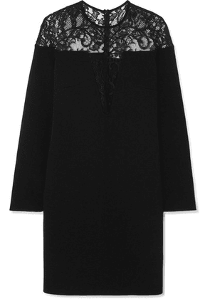 Givenchy - Lace-trimmed Stretch-crepe Mini Dress - Black