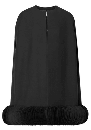Valentino - Organza-trimmed Wool And Silk-blend Crepe Cape - Black