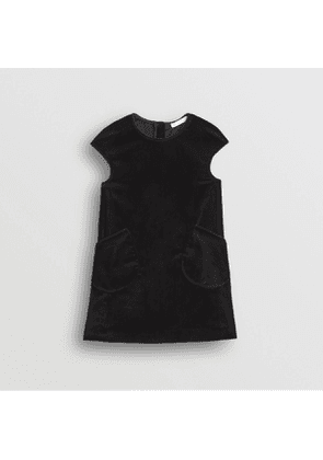 Burberry Childrens Piping Detail Velvet Shift Dress, Size: 8Y, Black