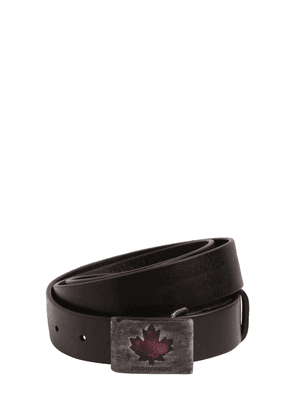 30mm Leather Belt W/ Maple Leaf Buckle