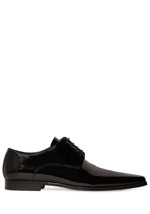 Pointed Patent Leather Lace-up Shoes