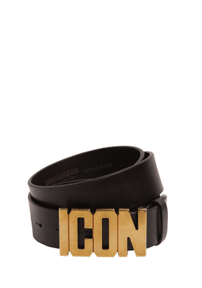 40mm  Leather Belt W/ Icon Buckle