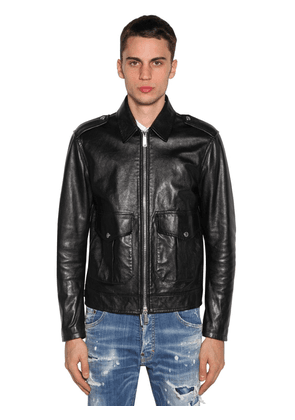 Zip-up Leather Biker Jacket