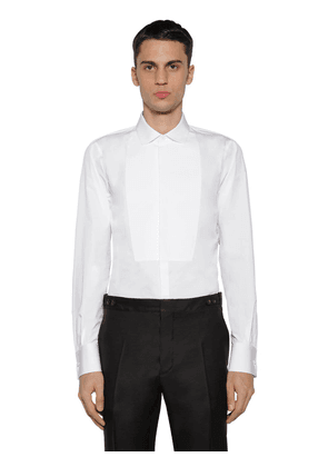 Slim Cotton Poplin Shirt W/ Plastron
