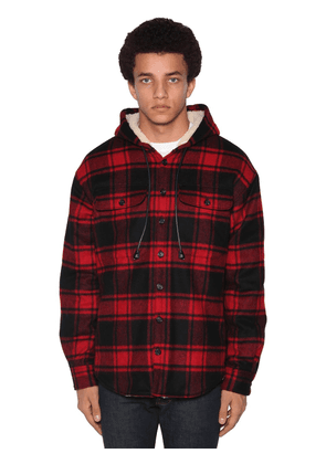 Check Wool Blend Flannel Shirt Jacket