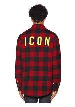 Icon Print Check Wool Flannel Shirt