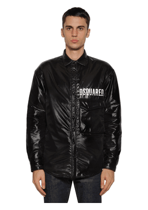 Logo Coated Nylon Shirt Jacket