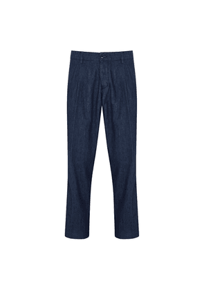 Blue Denim Pleated-Front Trousers