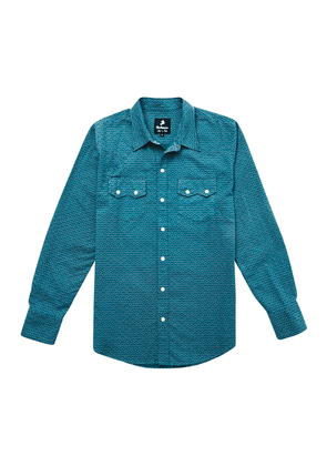 Blue and White Waves Cotton Western Shirt