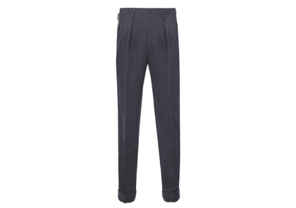Charcoal Grey Hollywood Top Pleated Wool Trousers