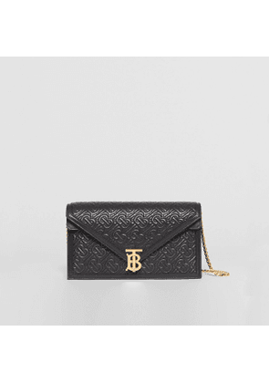 Burberry Small Quilted Monogram TB Envelope Clutch, Black