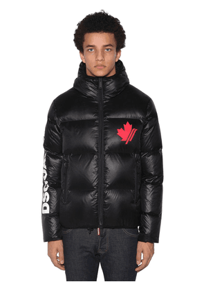 Logo Hooded Zip-up Nylon Puffer Jacket