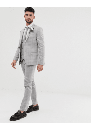 River Island wedding suit trousers in grey check